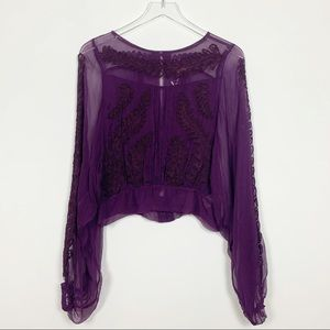 Free People | Purple Long Sleeve Sheer Blouse